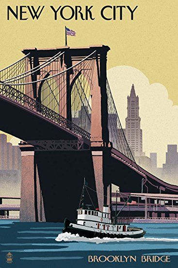 New York City, New York - Brooklyn Bridge (24x36 Wall Decor Travel Poster) #affiliate