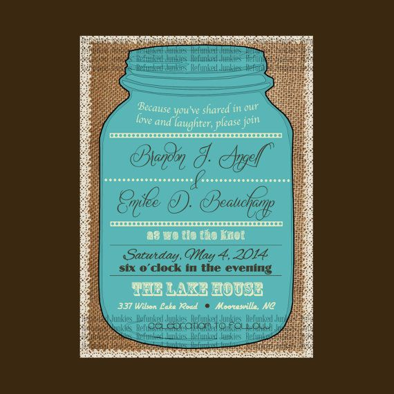 Mason Jar Invitation Template Burlap Background With Lace Border Wedding Or Any Other