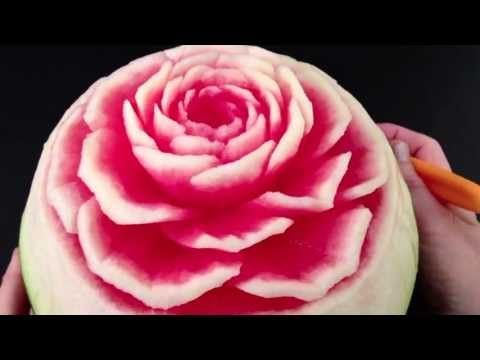 Beautiful Rose Flower Watermelon - Advanced Lesson 9 By Mutita Art Of Fruit Vegetable Carving - YouTube