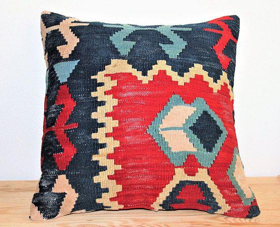 Throw Kilim Cushion Turkish Modern Pillows Case Ethnic Bohemian Navajo Kilim Aztec Handwoven 40x40 Middle Eastern Pillow E212