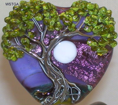 WSTGA~MOTHER'S DAY MOON~TREE SPRING handmade lampwork focal glass bead SRA