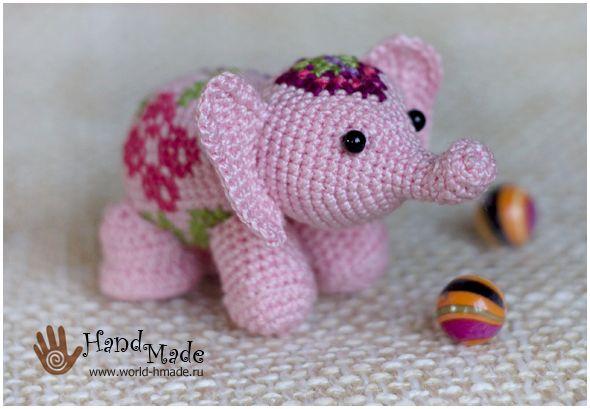 Розовый слоник, приносящий счастье. Вяжем крючком.