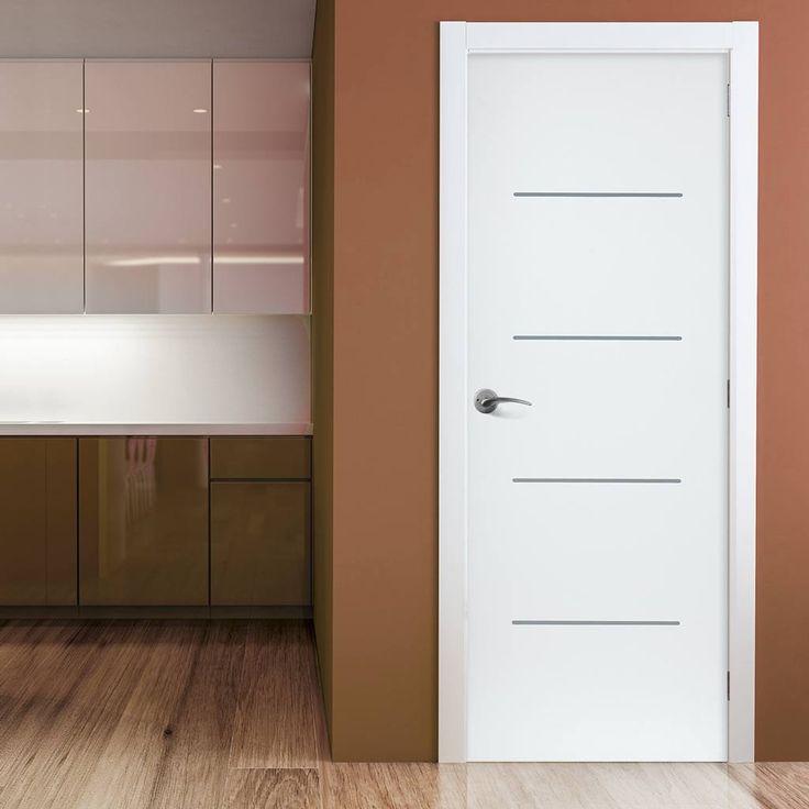 JB Kind Eco Colour Blanco White Flush Door with Aluminium Inlay is Pre-finished. #whitedoor #contemporarywhitedoor #moderndoor