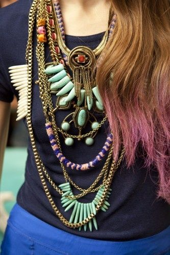 We Love Accessories.Dips Dyes Hair, Fashion, Statement Necklaces, Jewelry, Boho, Jewels, Accessories, Colors Hair, Tribal Style