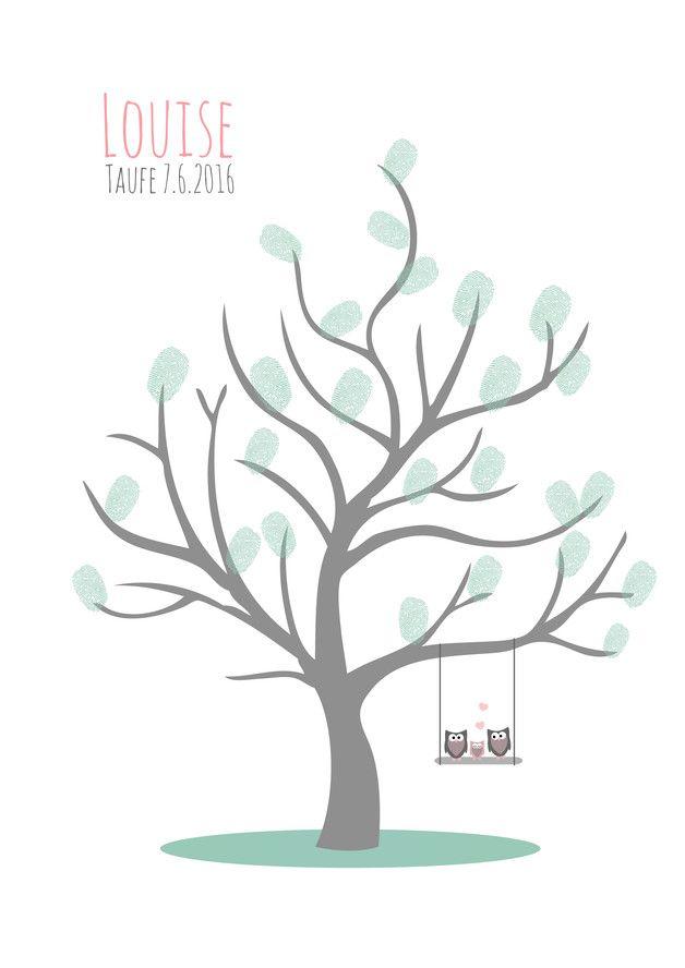 Süßes Fingerprint Bild als Gästebuch zur Taufe oder Babyparty. Eine zauberhafte Erinnerung an einen besonderen Tag und wundervoller Blickfang im Kinderzimmer. Jeder Gast darf einen...