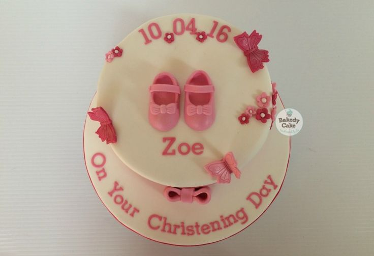 Girl Butterflies and booties Christening Cake by Bakedy Cake