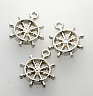 30pcs--Acrylic Pendant, Ship Wheel,16x19x3mm