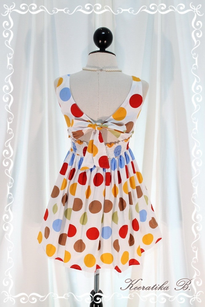 Lady Lolita - Adorable Mini Sundress Colorful Polka Dot Printed Petite Backless With Tie Bow Back Top Petite Size Mini Party Dress. $34.50, via Etsy.