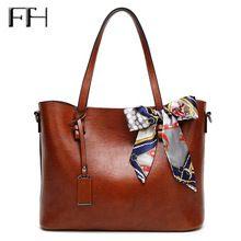 Slavný módní Oil Wax kůže Ženy velké EKO tašky s šátkové bowknot Lady luxusních kabelek rameno ženské sexy messenger tašky (Čína (pevninská část))