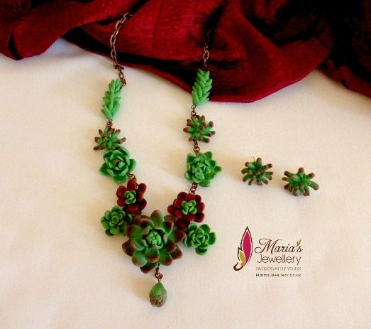 Polymer clay Succulent flower necklace with matching ear studs.