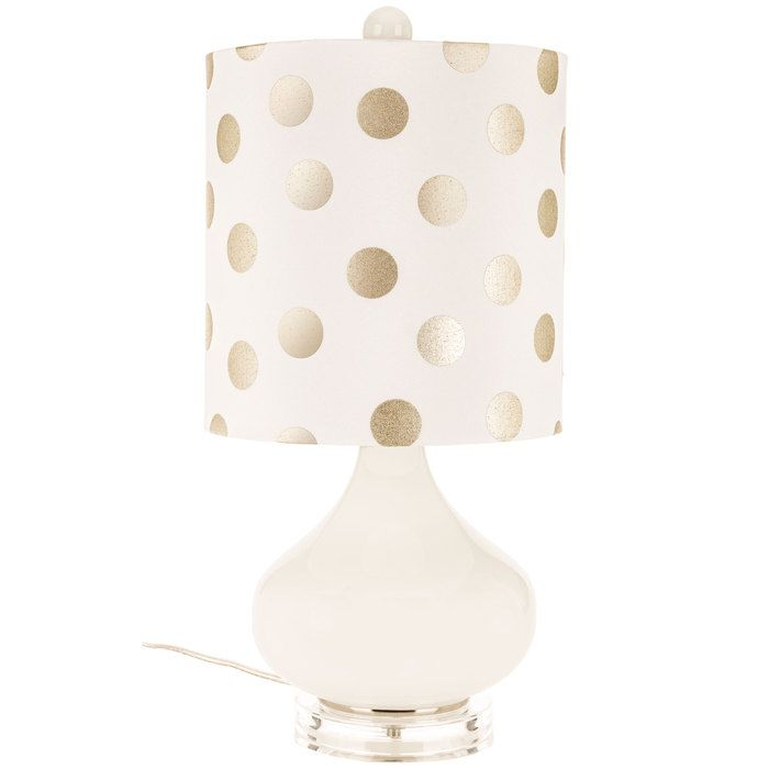 White Glass Lamp with Gold & White Polka Dot Shade