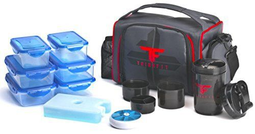 ThinkFit Insulated Lunch Boxes with 6 Portion Control Containers, Reusable Ice Pack, Pill Box, Shaker Cup, Shoulder Strap and Extra Storage Pocket , Red