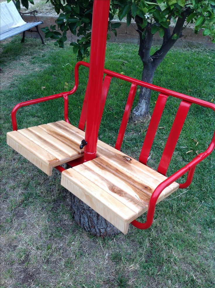 Red 1960 Cresta E Co Ski Lift Powder Coated Gloss Chair With Maple Seat Bottom