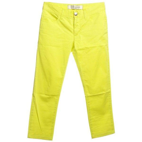 Pre-owned Capri pants in neon yellow (620 SEK) ❤ liked on Polyvore featuring pants, capris, yellow, capri trousers, blumarine, five pocket pants, capri pants and yellow pants