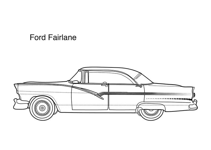Super Car Ford Fairlain Coloring Page For Kids Printable Free