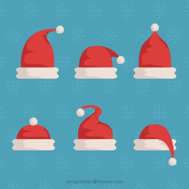 Santa claus hat set in flat design #Free #Vector