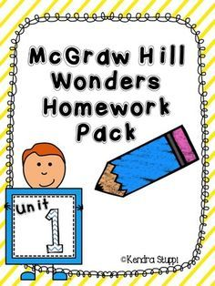 McGraw Hill - Wonders - Unit 1 Homework from For The Love Of Kindergarten on TeachersNotebook.com -  (18 pages)  - There are five pages to go along with each weekly unit. The skills match what is being covered in the Wonders program including letters, grammar, and sight words.  Each set follows the same layout.