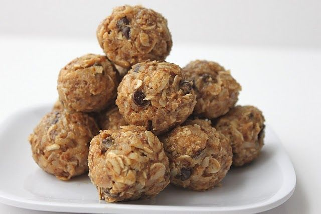 No-Bake Energy Bites    1 cup oatmeal  1/2 cup peanut butter (or other nut butter)  1/3 cup honey  1 cup coconut flakes  1/2 cup ground flaxseed  1/2 cup mini chocolate chips  1 tsp vanilla    Mix everything above in a medium bowl until thoroughly incorporated.  Let chill in the refrigerator for half an hour.  Once chilled, roll into balls and enjoy!  Store in an airtight container and keep refrigerated for up to 1 week.        Alright, let's start with that gooey peanut butter, honey and…