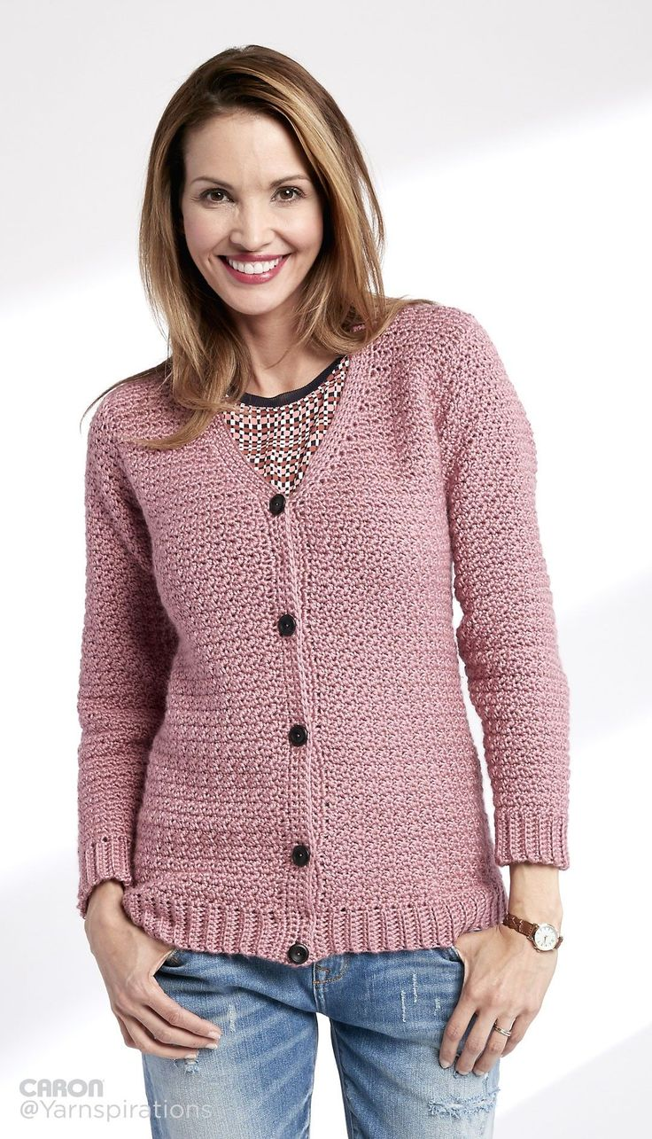Adult Crochet V-Neck Cardigan - Free Crochet Pattern - (yarnspirations)