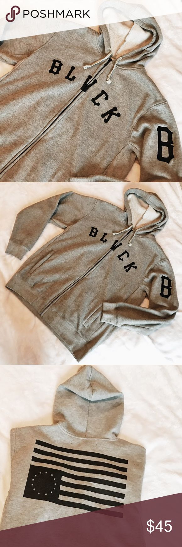 Black Scale : Grey zip up hoodie Black Scale: Grey zip up hoodie / 80% Cotton 20% Poly/ XL/ Embroidery on front, print on back / Worn and washed only a couple times, in like new condition free of stains or visible flaws. Black Scale Sweaters Zip Up