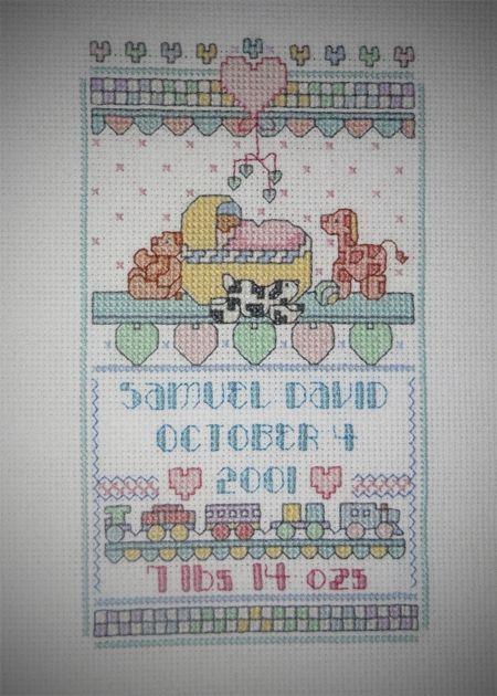 Im Topsy Turvy: Flashback Friday- cross stitch baby gifts