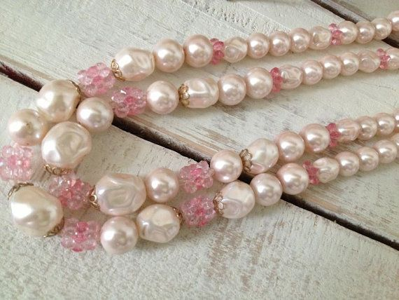 Vintage Pink and Gold - Double Strand Bead Necklace - Shabby Chic - Boudoir - Paris Apt