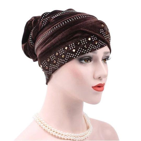 Fashion Women Winter Hats Soft Velvet India Hat Luxury Rhinestone Turban Hats Beanie Crochet Head Wrap Chemo Cancer Cap WH261 – Skullies & Beanies