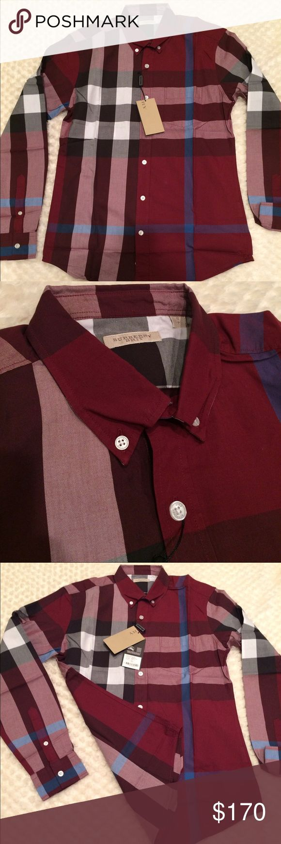 New burberry shirt for men New with tags burberry shirt long sleeves 100% cotton ruby red Burberry Tops Button Down Shirts