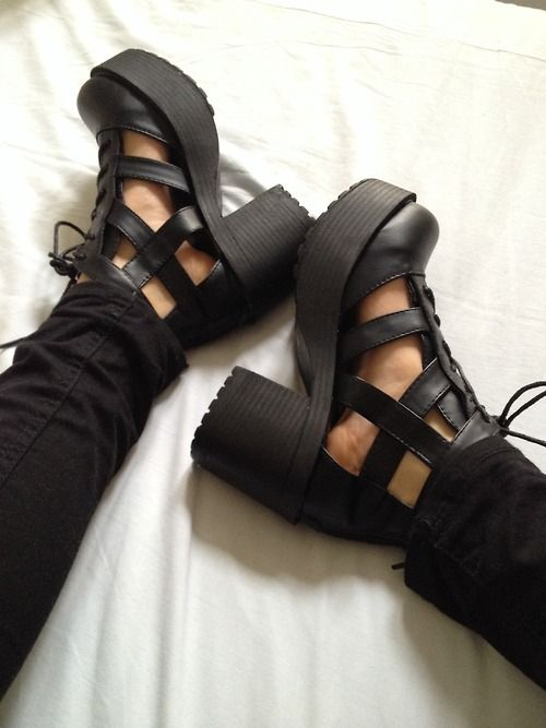 black heeled shoes