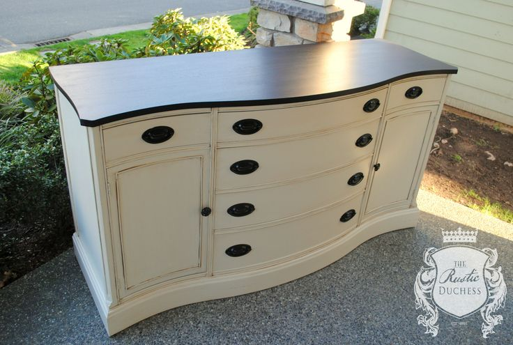 Antique dresser done in #GeneralFinishes Antique White and glazed with Van Dyke Brown.  The top was re-stained with #JavaGel.  The hardware was updated with oil rubbed bronze.  #ChalkPaint #Furniture #ShabbyChic