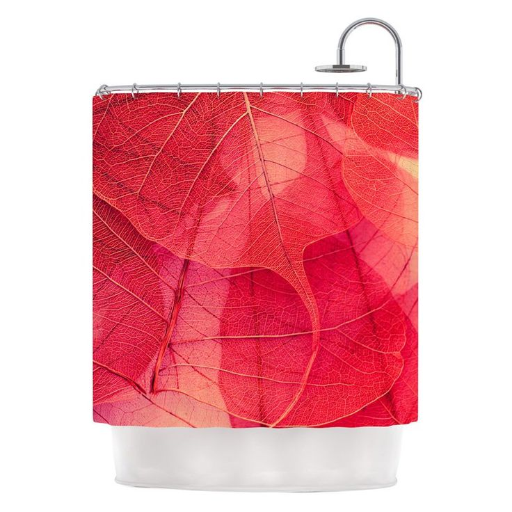 Kess Inhouse Ingrid Beddoes Delicate Leaves Red Shower Curtain - IR2008ASC01