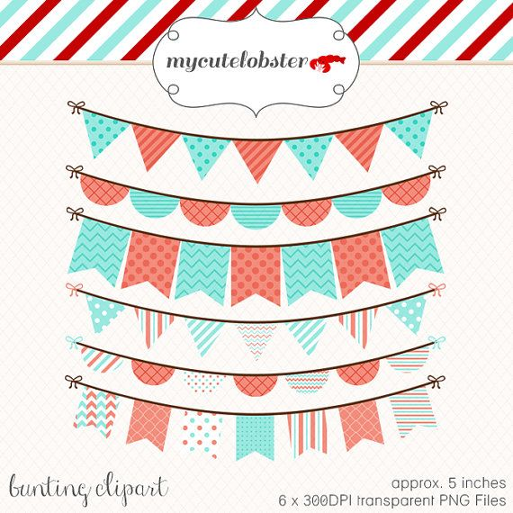 Bunting Clipart Set - clip art set of coral and blue bunting - personal use, small commercial use, instant download on Etsy, $4.00