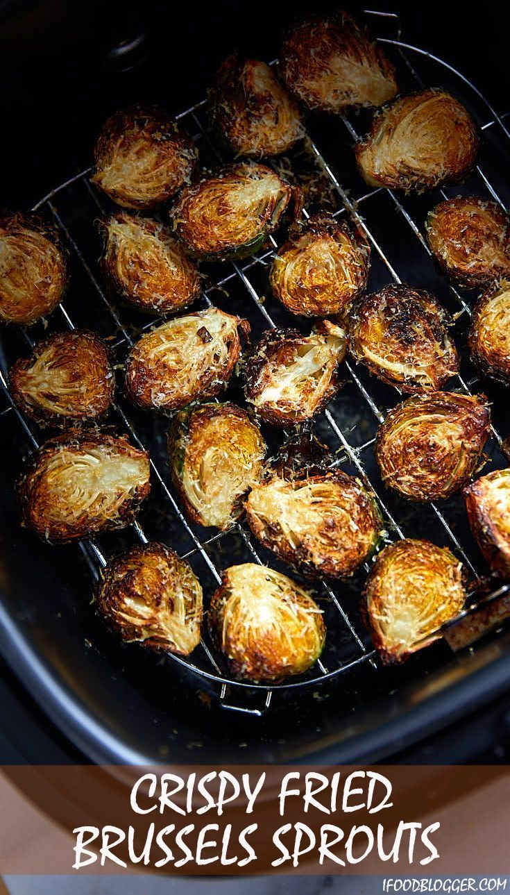 Crispy air fried Brussels sprouts, seasoned with olive oil, Parmesan cheese, sal…