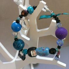 "Joli bracelet ""kokeshi-fantaisie"" - colori bleu"