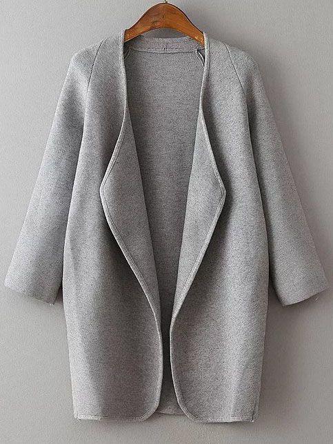 Veste longue col drapé manche raglan - gris  -French SheIn(Sheinside)