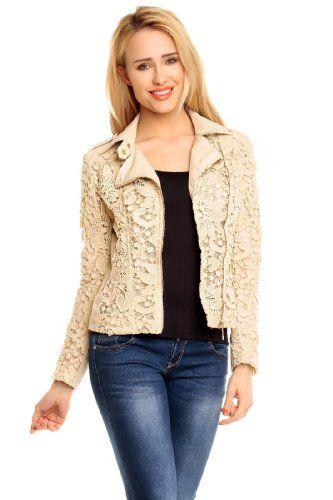 Edle elagante Damen Designer Kunstlederjacke mit Spitze beige cool zur Jeans Gr. S-36 Easy Young Fashion http://www.amazon.de/dp/B00K4BM18E/ref=cm_sw_r_pi_dp_tNA2vb1J812VQ
