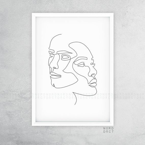 Abstract One Line Couple Illustration, Minimalist Human Portrait Drawing, Black and White Romantic Single Line Art, He & She Fashion Sketch – Marie