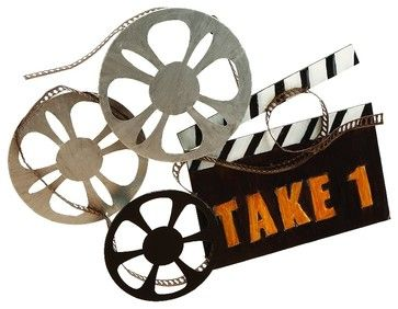 Hollywood Cinema Style Metal Wall Art Statue Film Reel Silver Home Decor transitional-wall-sculptures