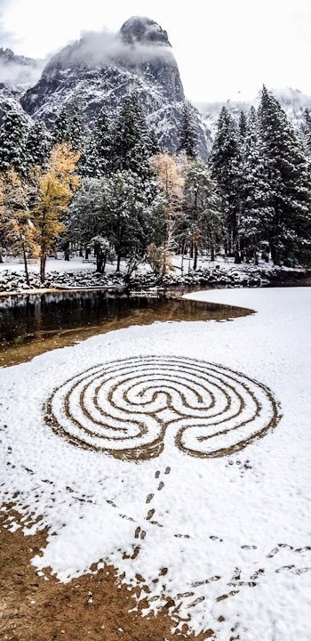 Merced River. Image by Lars Howlett -- Labyrinth in the snow beautiful!