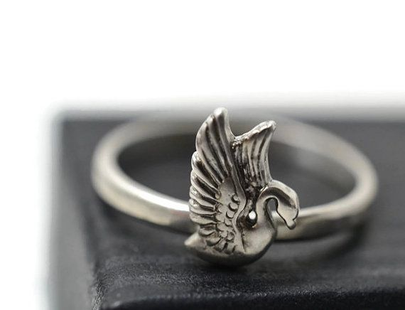 Silver Swan Ring Sterling Bird Jewelry Silver Bird by fifthheaven
