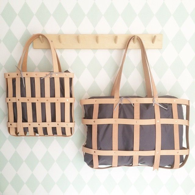 leather straps tote basket byAMT studio and mimot studio