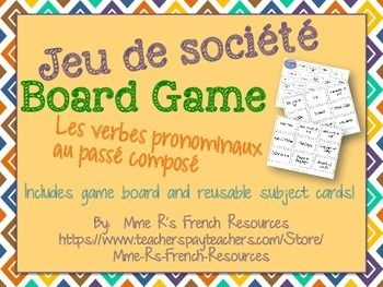 Need a fun way for your French class to practice conjugating reflexive verbs in the pass compos? This fun game will get them speaking and conjugating verbs in no time!Students move their game pieces around the board and for each verb space they land on, they create sentences using the subject shown on the subject card that they draw.