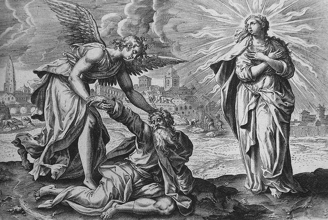 Apocrypha 10. Esdras and the angel. 2 Esdras cap 10 vv 25-31. De Vos. Phillip Medhurst Collection on Flickr.Apocrypha 10. Esdras and the angel. 2 Esdras cap 10 vv 25-31. De Vos. Phillip Medhurst Collection