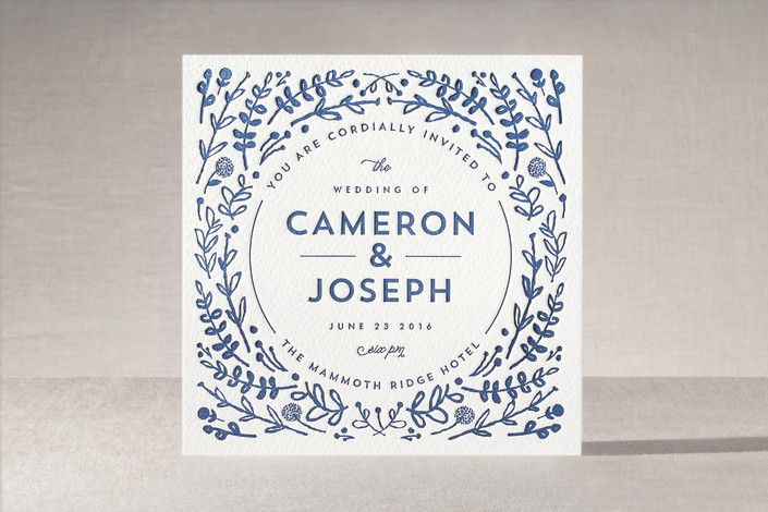 Floral Frame Letterpress Wedding Invitations by Lori Wemple