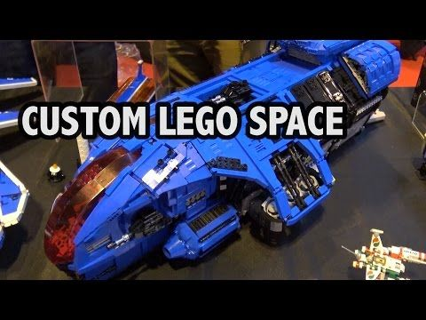 Giant Custom LEGO Spaceships | M-Tron Space Police Ice Planet - YouTube