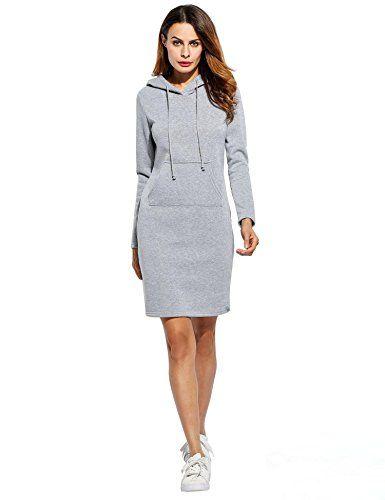 c23f098e12d AIMADO Robe Sweat-shirt à Capuche Longue Pull Manches Longue Casual avec  Poche Kangourou pour Femme Printemps Automne