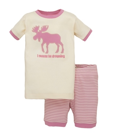 "Hatley Store: Hatley Pink ""I Moose Be Dreaming"" Kids' Summer Pajama Set"