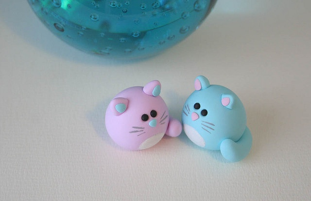 gatitos porcelana fria fimo