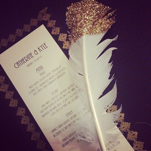 Black & Gold menu. #feather #1920s
