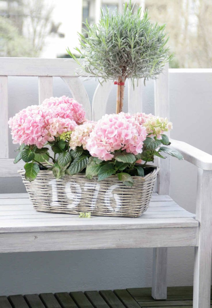 Perfect Summertime Address/House Numbers with Hydrangeas in a Basket!